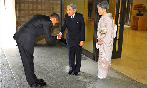Obama et l'Empereur Akihito - 141109