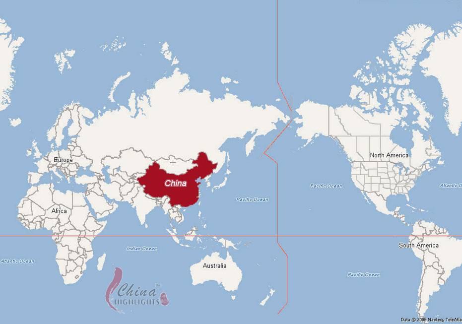 chine sur la carte du monde