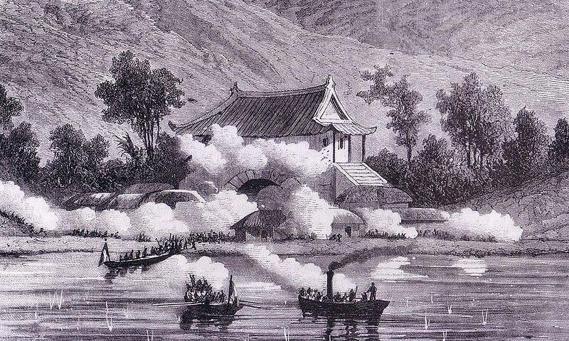 Les Français attaquant l'île Ganghwa