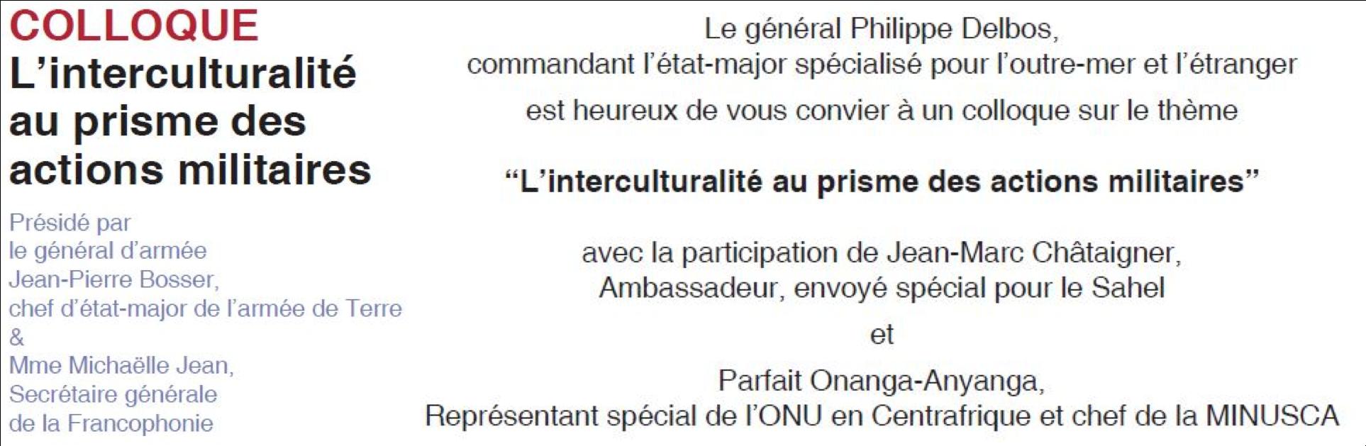 Participation au colloque «L'interculturalité au prisme des actions militaires» (le 28/11, ouvert à tous)